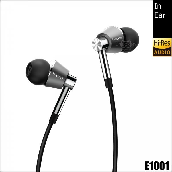 1MORE E1001 Triple Driver Hi-res In-Ear Headphones (Titanium Silver)
