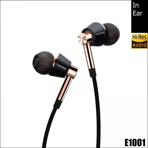 1MORE E1001 Triple Driver Hi-res In-Ear Headphones (Black Gold)