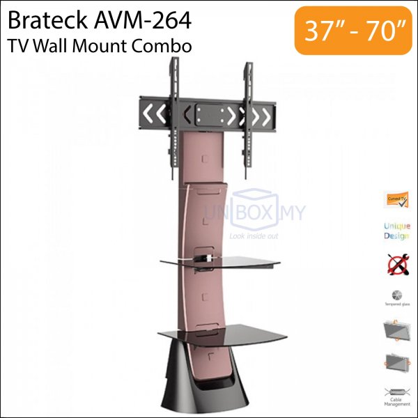 Brateck AVM-264 37-70 inch Tilt Swivel TV Wall Mount Combo (Black)