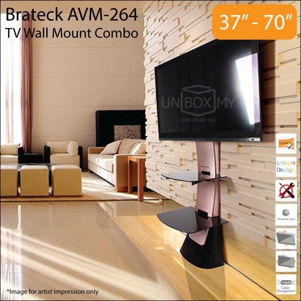 Brateck AVM-264 37-70 inch Tilt Swivel TV Wall Mount Combo (Black