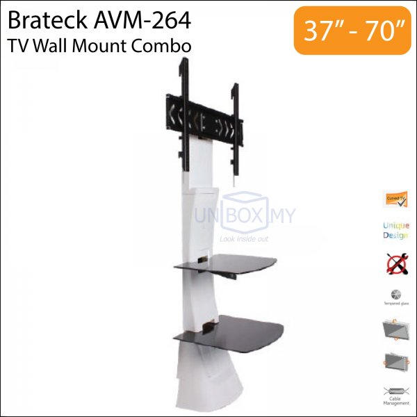 Brateck AVM-264 37-70 inch Tilt Swivel TV Wall Mount Combo (White)