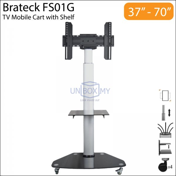 Brateck FS01G 37 70 inch Height Adjustable TV Trolley Cart Stand. TV Mount and Stand   UNBOX MY