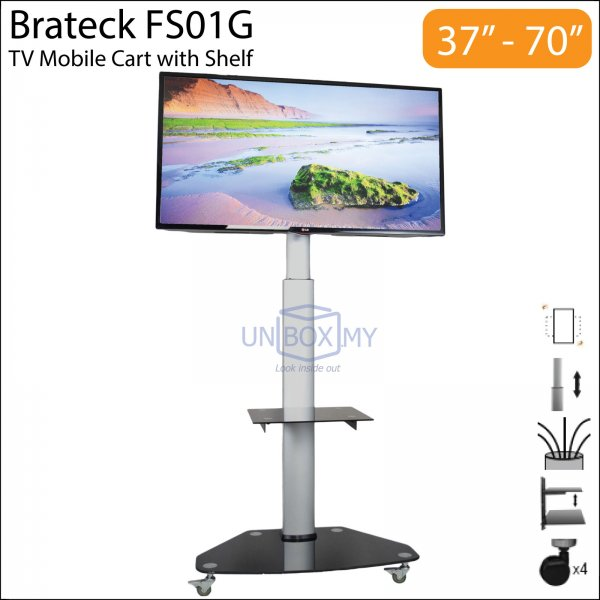 Brateck FS01G 37-70 inch Height Adjustable TV Trolley Cart Stand