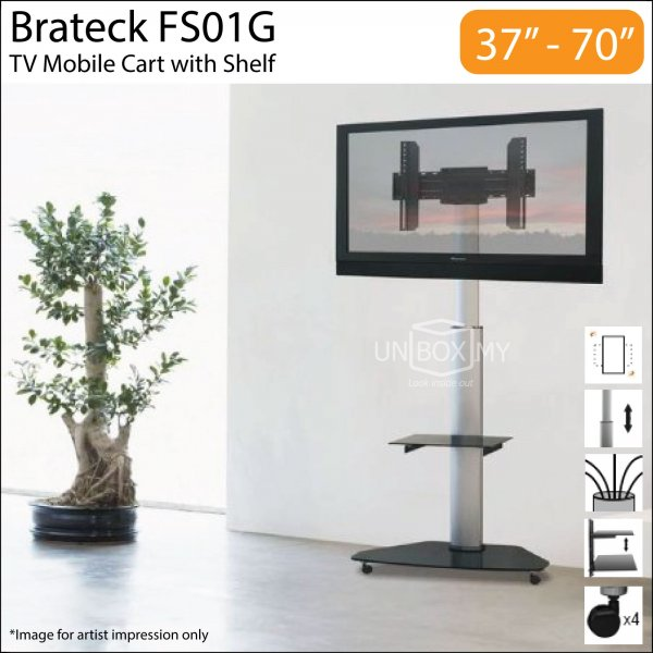 Brateck FS01G 37-70 inch Height Adjustable TV Cart