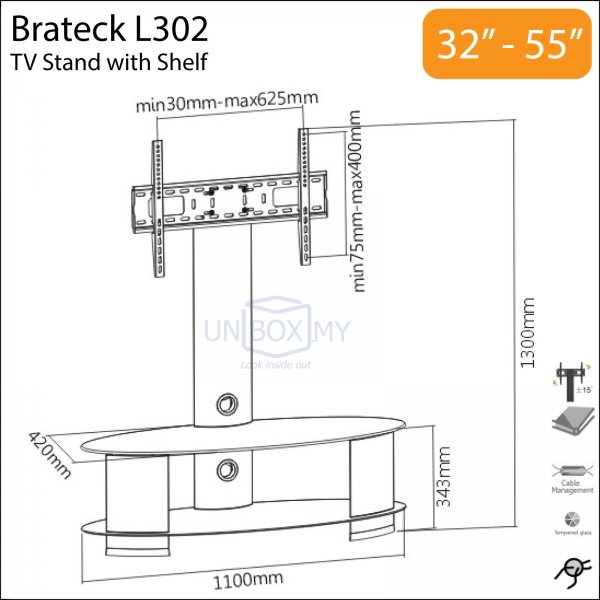 Brateck L302 32-55 inch Elegant Swivel TV Stand Combo