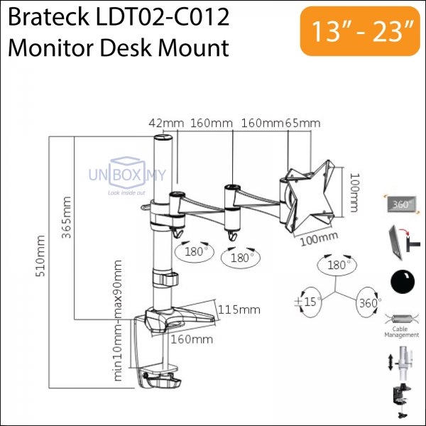 Brateck LDT02-C012 13-23 inch Monitor LCD Desk Mount Stand