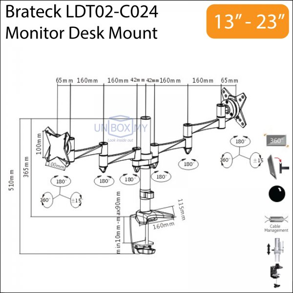Brateck LDT02-C024 13-23 inch Dual Monitor LCD Desk Mount Stand