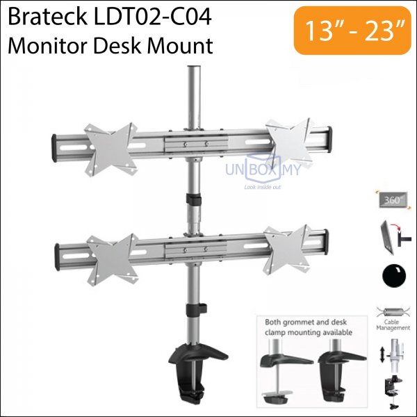 Brateck LDT02-C04 13-23 inch Quad Monitor LCD Desk Mount Stand