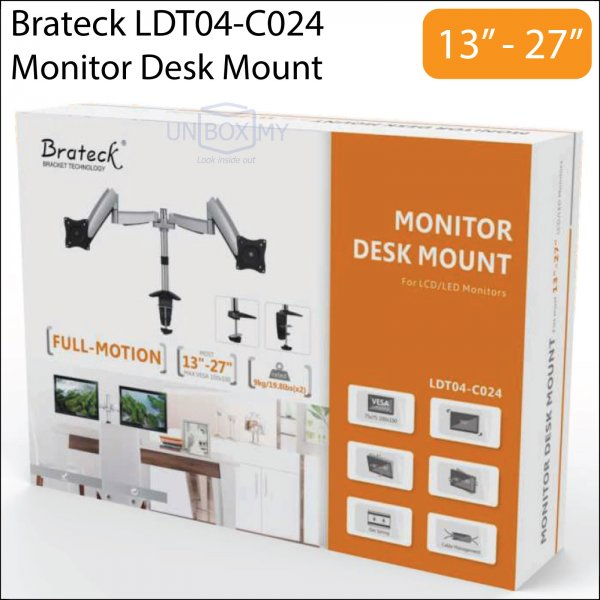 Brateck LDT04-C024 13-27 inch Dual Monitor LCD Desk Mount Stand