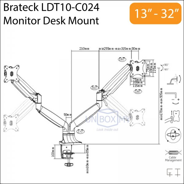 Brateck LDT10-C024 13-32 inch Dual LCD Monitor Desk Mount Stand