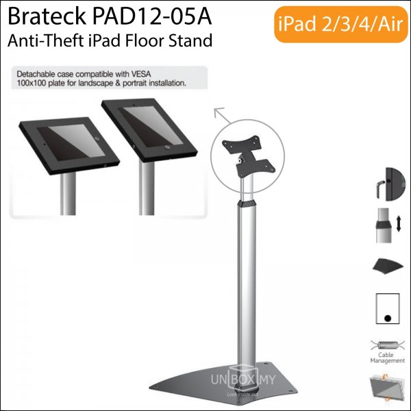 Brateck PAD12-05A Anti-Theft iPad Floor Stand