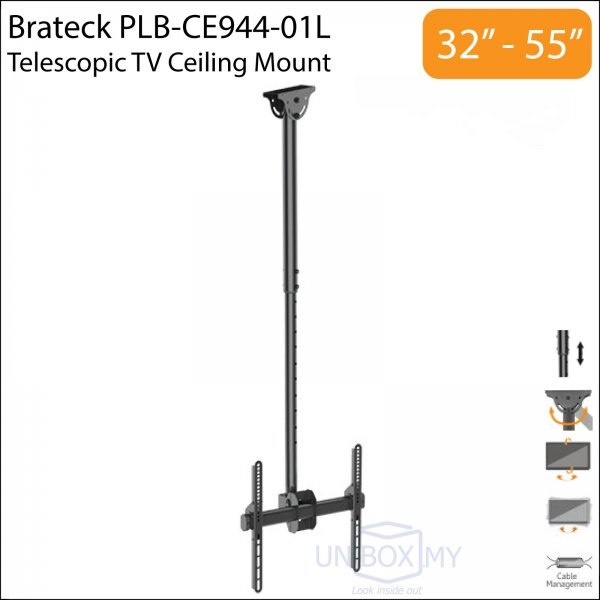 Brateck PLB-CE944-01L 32-55 inch Telescopic TV Ceiling Mount