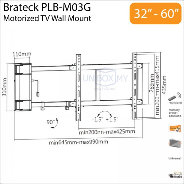 Brateck Plb M03g Motorized Tv Wall Mount Unbox My