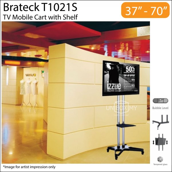 Brateck T1021S 37-70 inch Height Adjustable TV Cart
