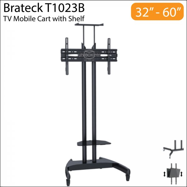 Brateck T1023B 32-60 inch Height Adjustable TV Trolley Cart Stand