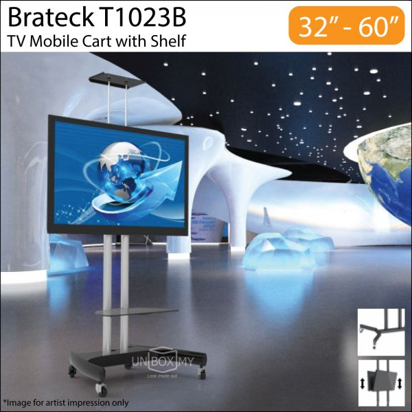 Brateck T1023B 32-60 inch Height Adjustable TV Cart