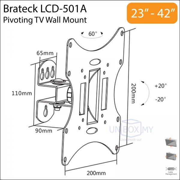 Brateck LCD-501A 23-42 inch Tilt Swivel TV Wall Mount