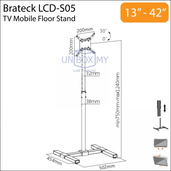 Brateck LCD-S05 13-42 inch Tilt Height Adjustable TV Monitor Stand