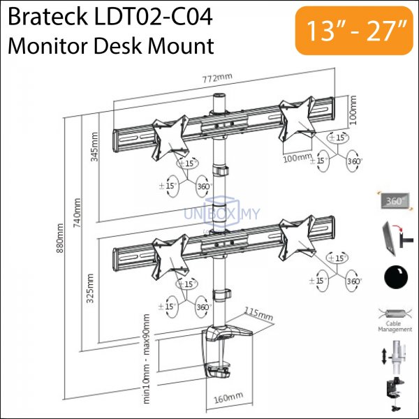 Brateck LDT02-C04 13-27 inch Quad Monitor LCD Desk Mount Stand