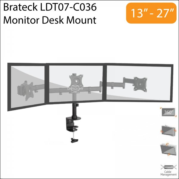 Brateck LDT07-C036 13-27 inch Triple LCD Monitor Desk Mount Stand