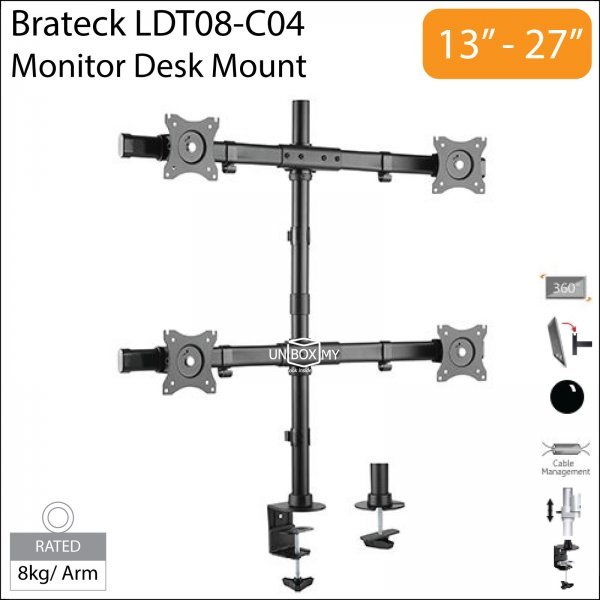 Brateck LDT08-C04 13-27 inch Quad Monitor LCD Desk Mount Stand