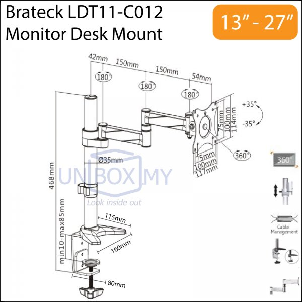 Brateck LDT11-C012 13-27 inch LCD Monitor Desk Mount Stand