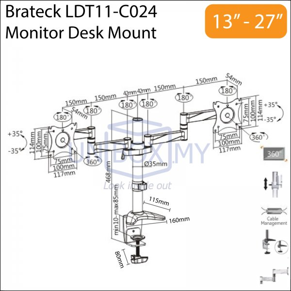 Brateck LDT11-C024 13-27 inch Dual LCD Monitor Desk Mount Stand