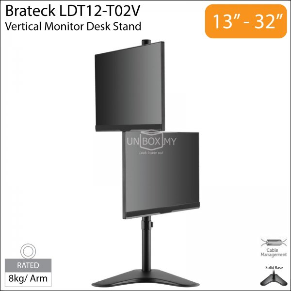 Brateck LDT12-T02V 13-32 inch Dual Monitor Vertical Desk Stand