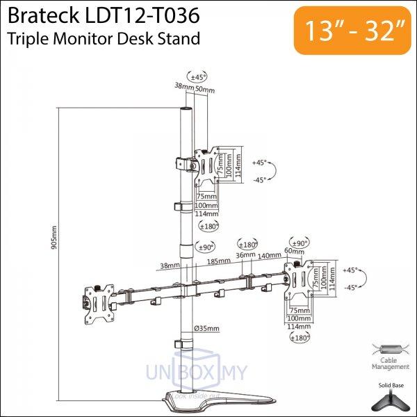 Brateck LDT12-T036 13-32 inch Triple Monitor Pyramid Desk Stand