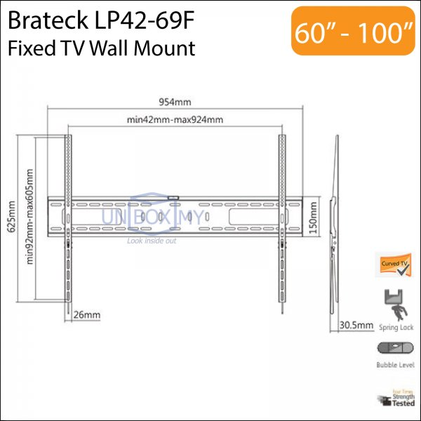 Brateck LP42-69F 60-100 inch Fixed TV Wall Mount