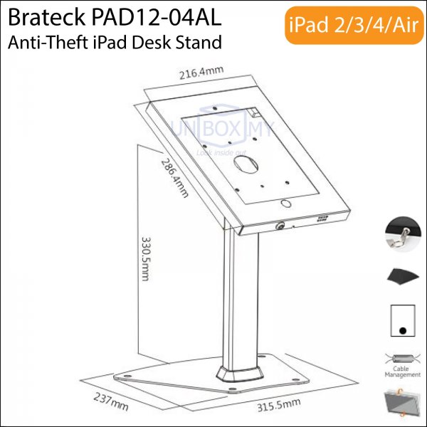 Brateck PAD12-04AL Anti-Theft iPad Table Stand