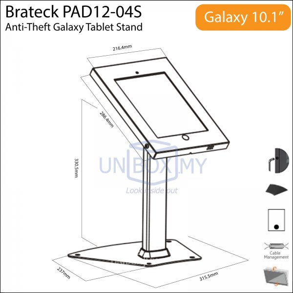 Brateck PAD12-04S Anti-Theft Galaxy Tablet Table Stand