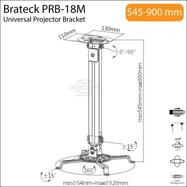Brateck PRB-18M Universal Projector Bracket Mount
