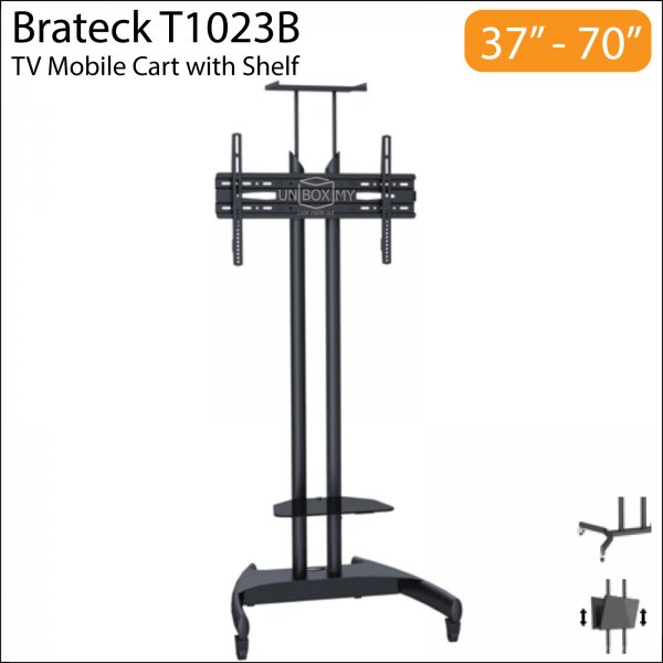 Brateck T1023B 37-70 inch Height Adjustable TV Trolley Cart Stand