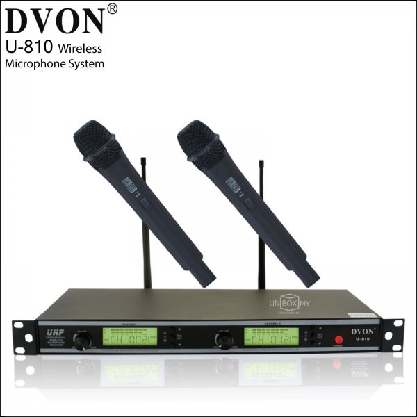 DVON U-810 ACT UHF Dual Channel Wireless Microphone System