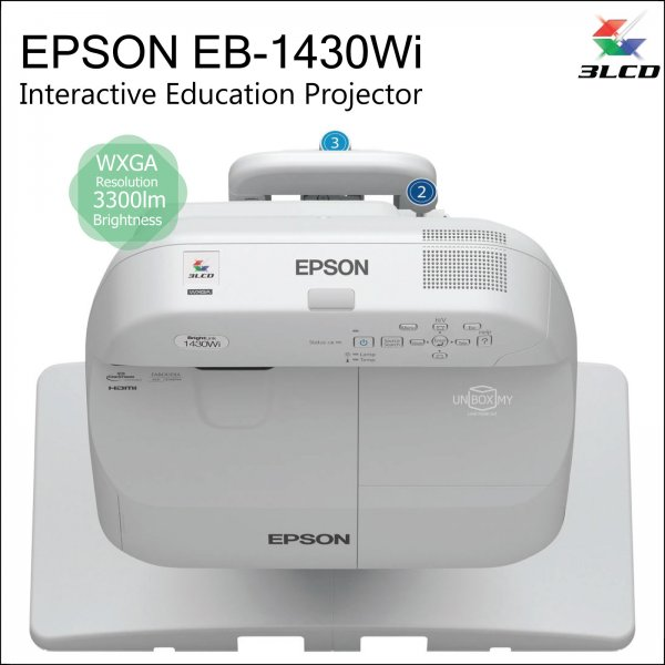 Epson EB-1430Wi 3LCD WXGA Short Throw Interactive Education Projector