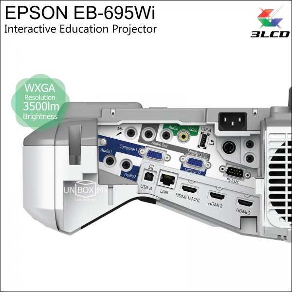Epson EB-695Wi 3LCD WXGA Ultra Short Throw Interactive Education Projector