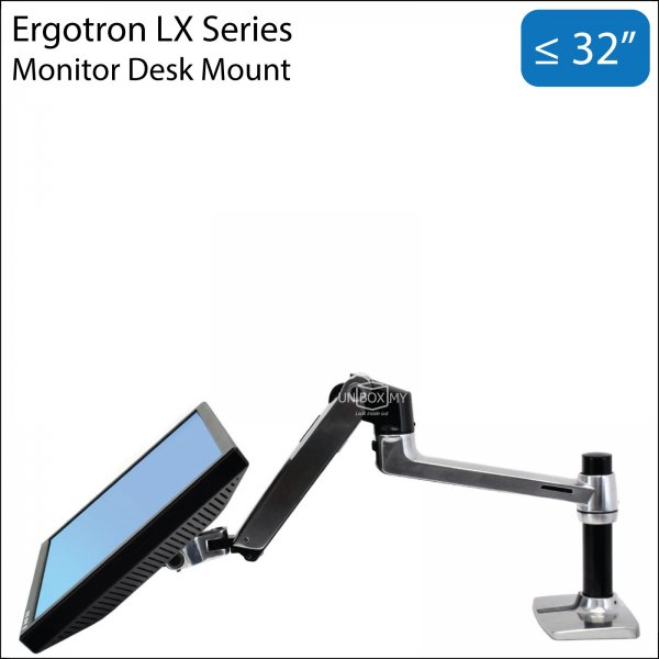 Ergotron LX 13-32 inch Monitor LCD Desk Mount Stand (Polished Aluminum)