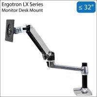 Ergotron LX 13-32 inch Monitor LCD Desk Mount Stand (Polished Aluminum)