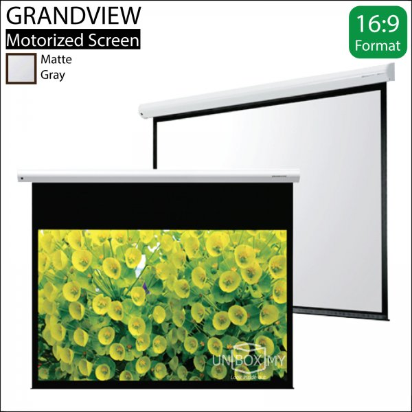 GRANDVIEW CNV Series Electric Motorized Screen Grey Fabric (HDTV 16:9)