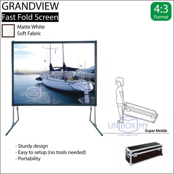 GRANDVIEW Super Mobile Series Fast Fold Screen White Fabric (NTSC 4:3)