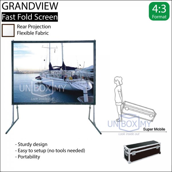 GRANDVIEW Super Mobile Series Fast Fold Screen Rear Fabric (NTSC 4:3)