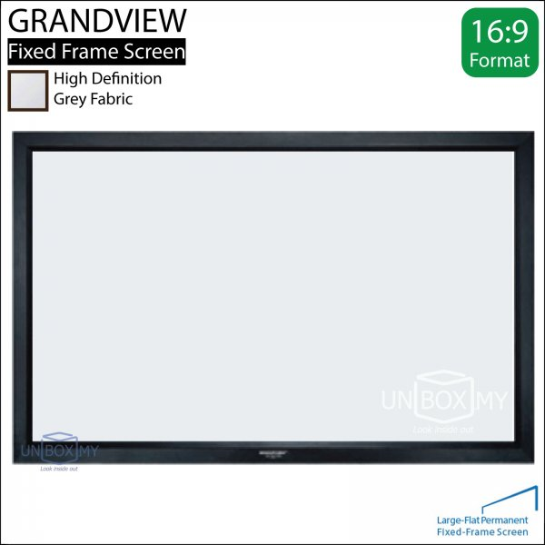 GRANDVIEW Large-Flat Prestige Fixed Frame Screen Grey Fabric (HDTV 16:9)