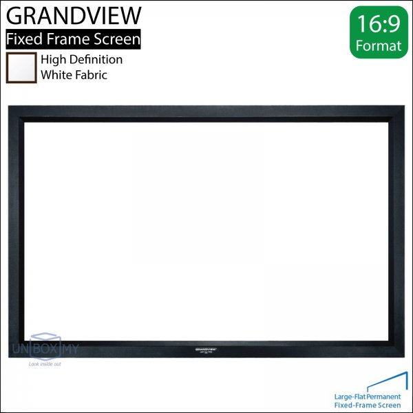 GRANDVIEW Large-Flat Prestige Fixed Frame Screen White Fabric (HDTV 16:9)