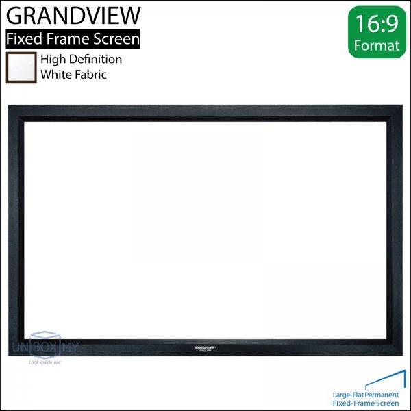 GRANDVIEW Large-Flat Prestige Fixed Frame Screen White Fabric (HDTV 16:9)