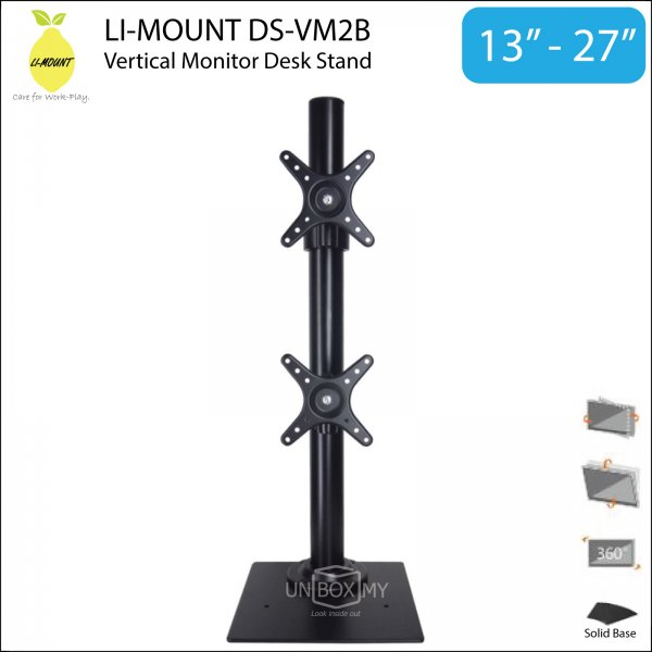 LI-MOUNT DS-VM2B Dual Monitor Vertical Desk Stand