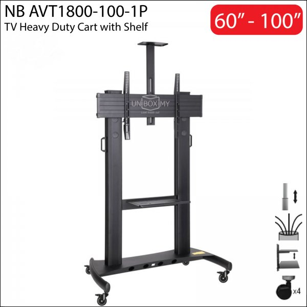 NB AVT1800-100-1P 60-100 inch Height Adjustable TV Trolley Cart Stand