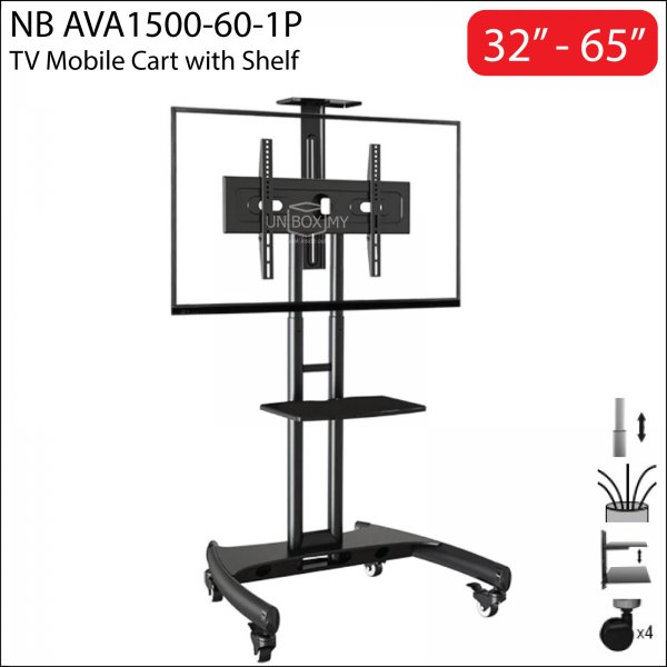 NB AVA1500-60-1P 32-65 inch Height Adjustable TV Trolley Cart Stand