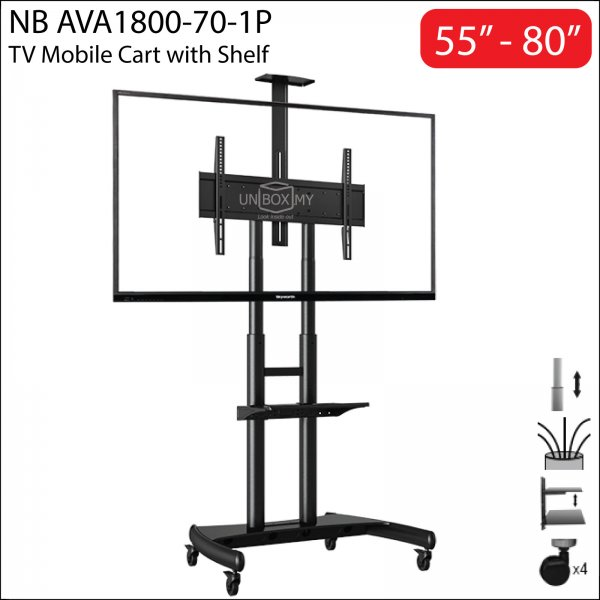 NB North Bayou AVA1800-70-1P 55-80 inch Height Adjustable TV Trolley Cart Stand