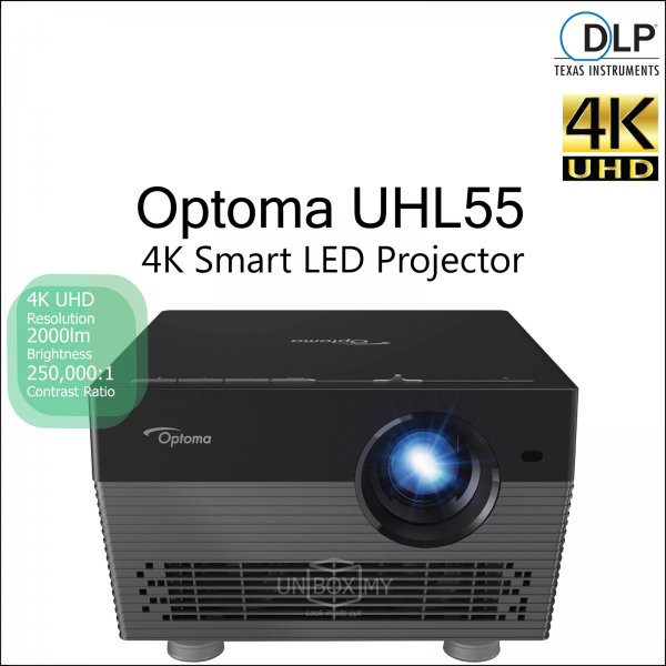 Optoma UHL55 DLP 4K Ultra HD LED Smart Home Theater Projector